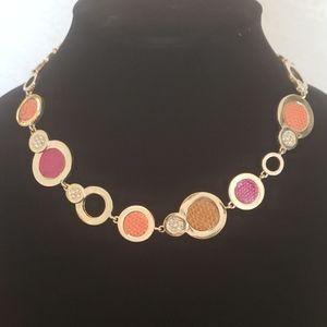 Anne Klein goldtone rhinestone & leather necklace